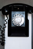 Vintage black wall phone Royalty Free Stock Photos