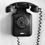 Vintage black wall telephone Royalty Free Stock Image