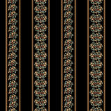 Vintage black wallpaper. Seamless background with floral pattern and stripes. Vector illustration Stock Image