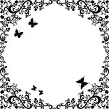 Vintage black white beautiful illustration of floral ornament Stock Photography