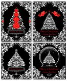 Vintage black and white Christmas cards with xmas tree and floral decorative borders. Vintage black and white Christmas cards with xmas tree, angels and floral Royalty Free Stock Images