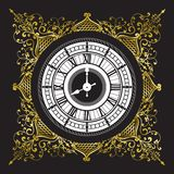 Vintage black and white clock Stock Image