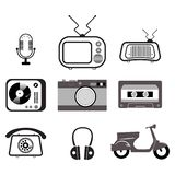 Vintage black and white color flat objects set stock illustration