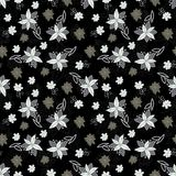 Vintage black and white floral seamless pattern Stock Photo