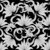 Vintage black and white floral seamless pattern. Vector flourish. Background. Hand drawn striped flowers, leaves, curves, line art tracery beautiful ornament stock illustration