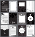 Vintage black and white journaling cards Stock Image