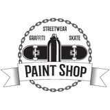 Vintage black and white logo with Spray, Skateboard, Chains. Ribbons. Stock Photos