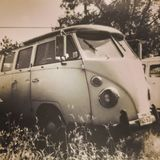 Vintage black and white photo of a 1960's Volkswagen Van. A vintage photo of a 1960's Volkswagen Van royalty free stock photos