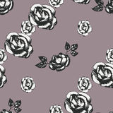 Vintage black and white rose pattern Royalty Free Stock Photos