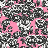 Vintage black and white rose pattern Royalty Free Stock Photography