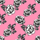 Vintage black and white rose pattern Royalty Free Stock Photo