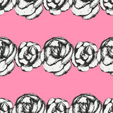 Vintage black and white rose pattern Royalty Free Stock Image