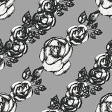 Vintage black and white rose pattern Stock Images