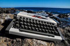 Vintage black and white Travel Typewriter Royalty Free Stock Photos