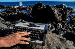 Vintage black and white Travel Typewriter Stock Images