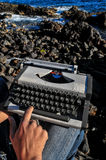Vintage black and white Travel Typewriter Royalty Free Stock Images