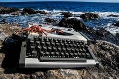 Vintage black and white Travel Typewriter Stock Image