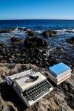 Vintage black and white Travel Typewriter Royalty Free Stock Photo