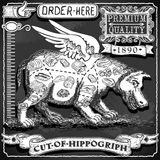 Vintage Blackboard of Cut of Hippogriph Stock Image