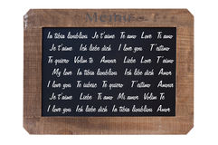 Vintage blackboard with the words I love you Royalty Free Stock Photos
