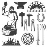 Vintage Blacksmith Elements Set. With anvil furnace working man weapons chain fire horseshoe pliers isolated vector illustration Stock Photography