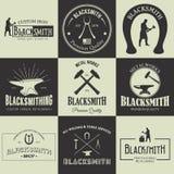 Vintage blacksmith labels and design elements vector illustration