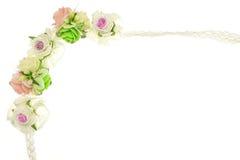 Vintage blanc et fleur rose de tissu d'isolement Photographie stock libre de droits