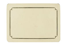 Vintage blank card isolated on white background Stock Image