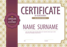 Vintage Blank Certified Border Template With Purple Ribbon. Vector Illustration Stock Image