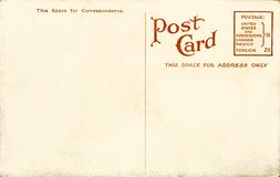 Vintage blank postcard. Ancient grunge greeting postcard with empty space for writing Stock Photos