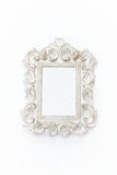 Vintage blank white photo frame. Ready for photography montage. Top view from above Stock Images