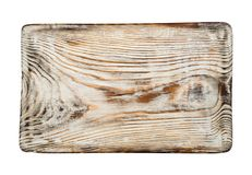 Vintage bleached cutting board top view isolated on white background royalty free stock photography