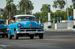 Vintage blue american car with white roof in Cuba Havana Royalty Free Stock Image