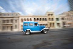 Vintage Blue American Taxi Car Havana Cuba Stock Images