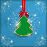 Vintage Blue Background Christmas Tree Ribbon Stock Photography