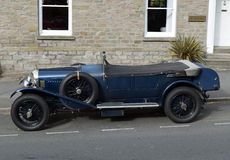 Vintage Blue Bentley Convertible Car in Hay-on-Wye, Wales Royalty Free Stock Images
