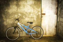 Vintage blue bicycle stock photos