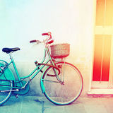 Vintage blue bicycle Royalty Free Stock Photography