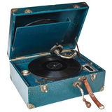 Vintage blue boxed turntable isolated on white Stock Photography