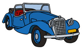 Vintage blue cabriolet. Hand drawn vector illustration Vector Illustration