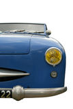 Vintage blue car. Face view, isolated on white with clipping path Royalty Free Stock Images
