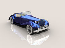 Vintage blue car 3D model. Vintage blue car - Shiny old Hot Rod 3D model on reflective surface with clipping work path included stock illustration