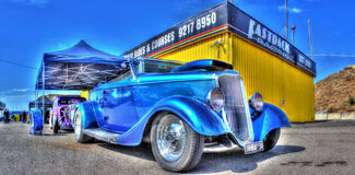 Vintage blue car Royalty Free Stock Image