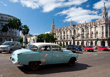 Vintage blue car in Havana Stock Photos