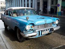 Vintage blue car in Havana. Stock Photos
