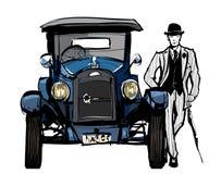 Vintage blue car Stock Images