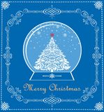 Vintage blue Christmas card with Xmas tree in globe. Vintage blue Christmas card with Xmas decorative tree in globe Royalty Free Stock Images