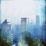 Vintage blue city skyline. Grunge design element Royalty Free Stock Photo