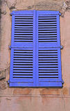 Vintage blue close window with shutters, Provence royalty free stock image