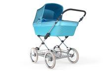 Vintage blue color design baby stroller. 3d render. Vintage blue color design baby stroller. 3d illustration Royalty Free Stock Photos